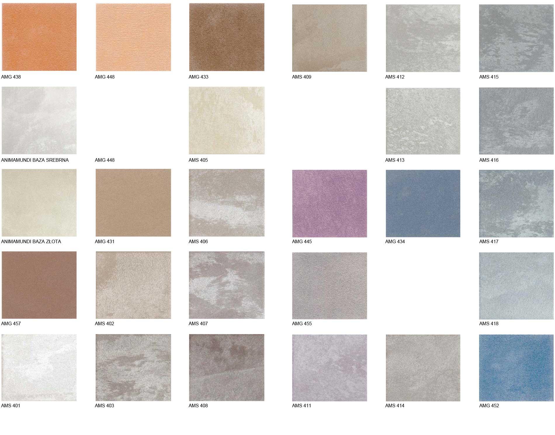 Farba dekoracyjna Animamundi wzornik kolorów 1